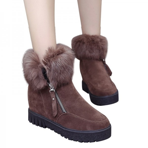Women Zipper Ankle Boots New Fashion Plus Velvet Heightening Boots Wedge Platform Winter Warm Snow Shoes For Female Extra Image 5