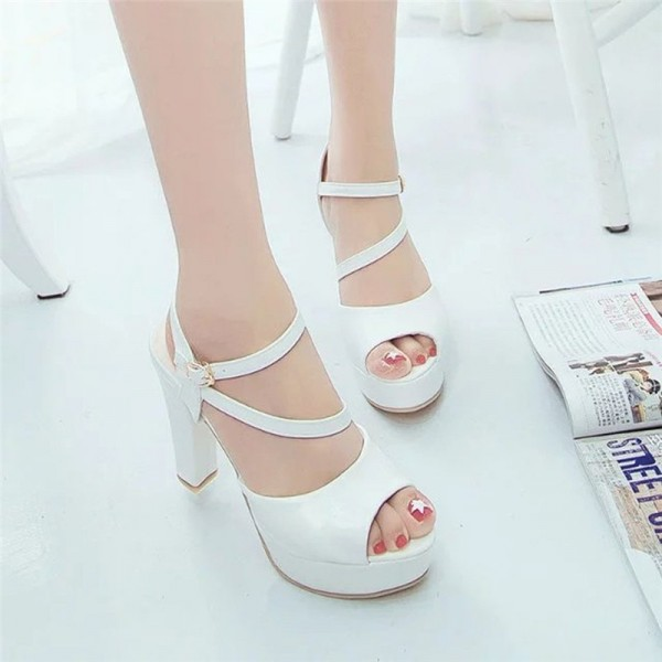 Womens Autumn Casual Wedge Vintage Ankle Strap High Heel Platform Pump Shoes Casual Loafers Sandals Shoes Extra Image 2