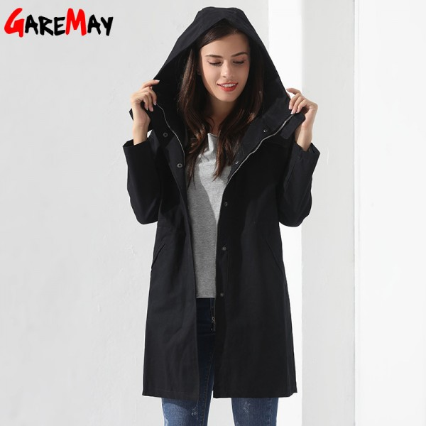 Buy Womens Breakers With A Hood Denim Jacket Long Trench Coat Casual Black Trench Coat Women ...