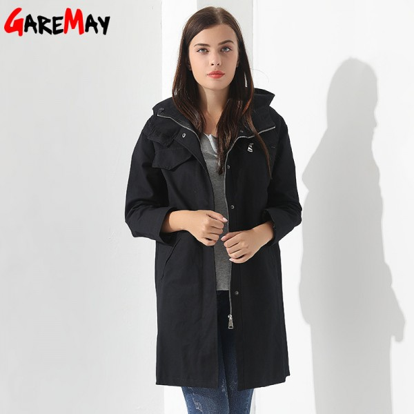 Womens Breakers With A Hood Denim Jacket Long Trench Coat Casual Black Trench Coat Women Trench Coat Para Extra Image 3