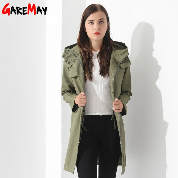 Womens Breakers With A Hood Denim Jacket Long Trench Coat Casual Black Trench Coat Women Trench Coat Para Extra Image 4