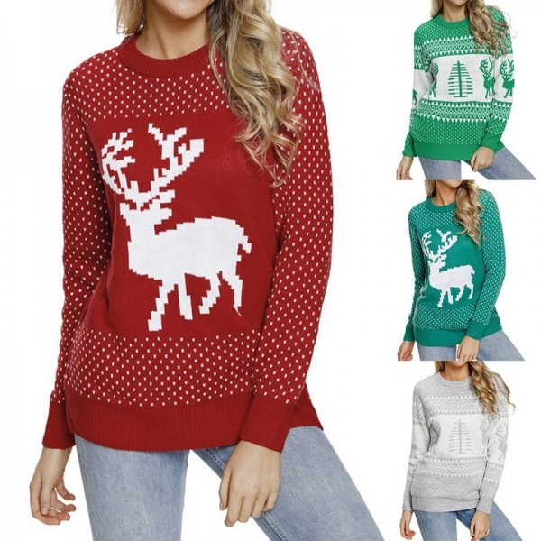153725fe2d53d3 Buy Womens Christmas patterns sweaters multi color long sleeve warm sweaters  O neck knitted pullovers