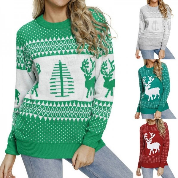 Womens Christmas patterns sweaters multi color long sleeve warm sweaters O neck knitted pullovers Extra Image 2