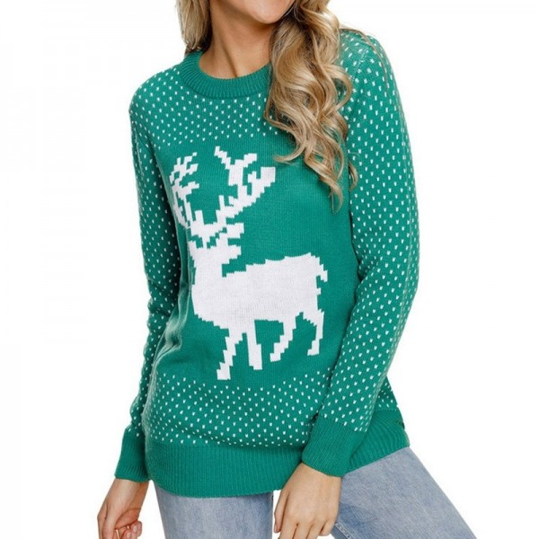 Womens Christmas patterns sweaters multi color long sleeve warm sweaters O neck knitted pullovers Extra Image 3