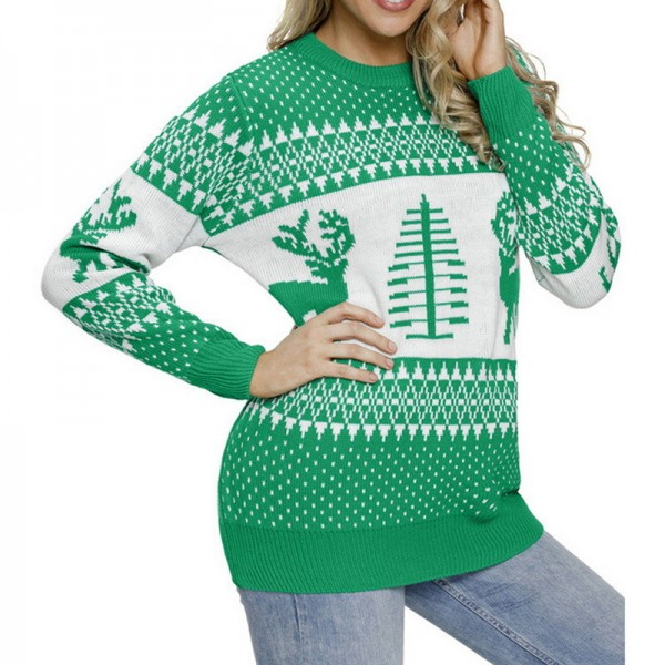 Womens Christmas patterns sweaters multi color long sleeve warm sweaters O neck knitted pullovers Extra Image 4