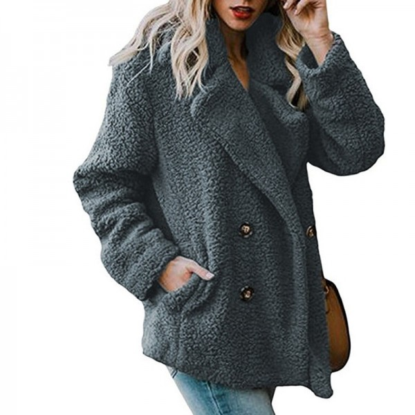 Womens Jacket Winter Coat Women Cardigans Ladies Warm Jumper Fleece Coats Button Wool Outwear Plus Size 3XL Extra Image 2