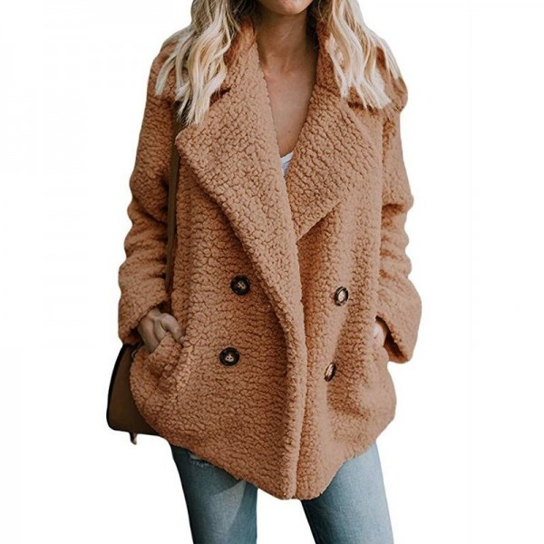 Womens Jacket Winter Coat Women Cardigans Ladies Warm Jumper Fleece Coats Button Wool Outwear Plus Size 3XL Extra Image 4