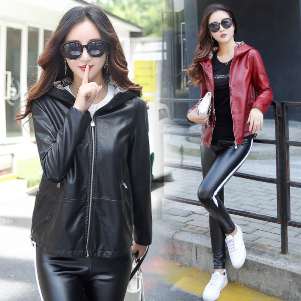 Womens Leather Jacket 3XL 2019 Winter Coat Female Loose Plus Size Hooded Solid Leather Female Outwear Extra Image 1