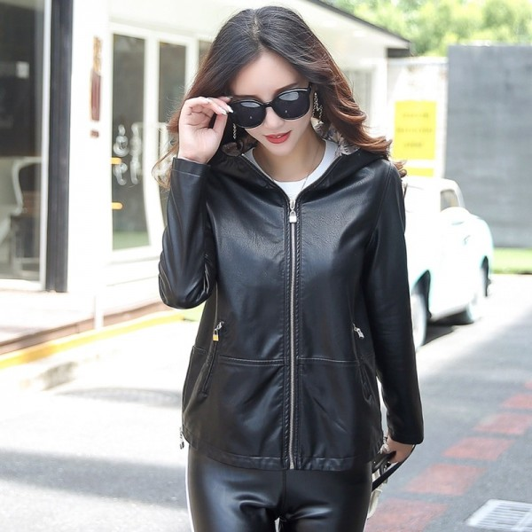 Womens Leather Jacket 3XL 2019 Winter Coat Female Loose Plus Size Hooded Solid Leather Female Outwear Extra Image 2
