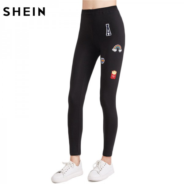 Womens Leggings Clothing for Women Cute Woman Leggings Black Embroidered Patch Applique Ankle Length Leggings Extra Image 4