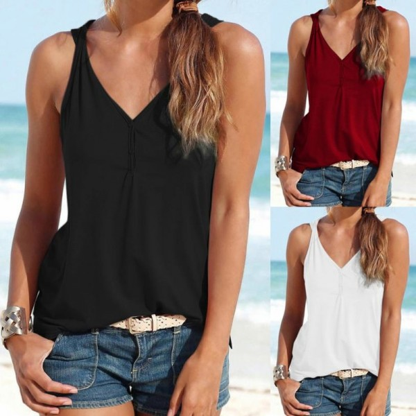 Womens Summer Strappy Vest Top Sleeveless Shirt Blouse Casual Tank Tops Sexy Top Shirts Women 2018 Summer Tees