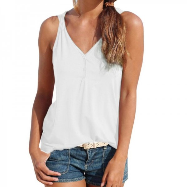 Womens Summer Strappy Vest Top Sleeveless Shirt Blouse Casual Tank Tops Sexy Top Shirts Women 2018 Summer Tees Extra Image 1
