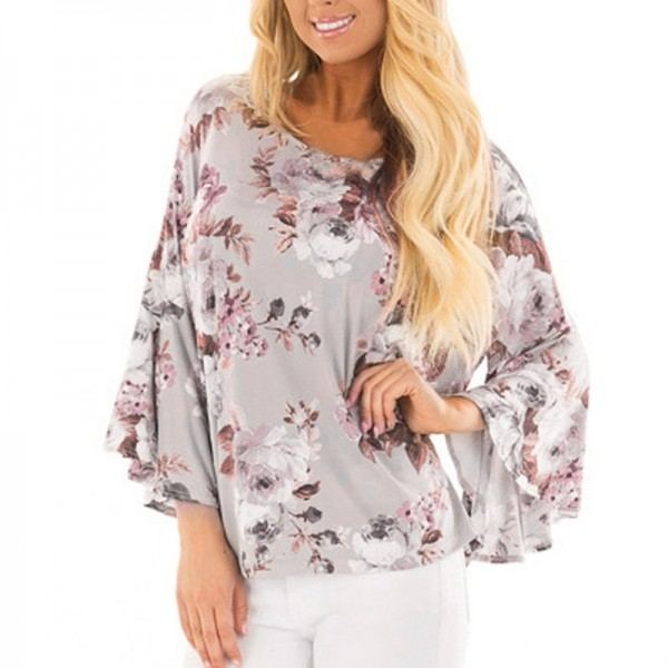 Womens Tops and Blouses Feminine Boho Floral Print Long Sleeve Blouse Flare Sleeve Ladies Top Tunic Woman Clothes Extra Image 2