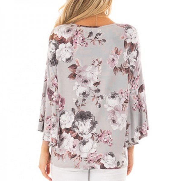 Womens Tops and Blouses Feminine Boho Floral Print Long Sleeve Blouse Flare Sleeve Ladies Top Tunic Woman Clothes Extra Image 3