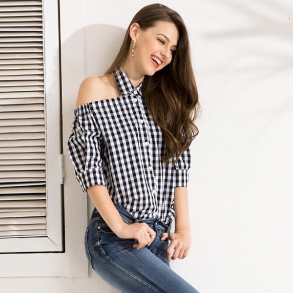 Womens Tops And Blouses Sweet Temperament Commuter Hanging Neck Ladies Blouses Mid Sleeve Plaid Female Blouse