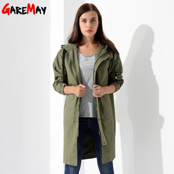 Womens Windbreakers Female Coat Jacket Plus Size Causal Long Cotton Pocket Female Overcoat Autumn Coat Women