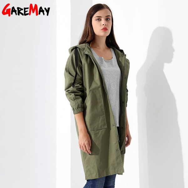 Womens Windbreakers Female Coat Jacket Plus Size Causal Long Cotton Pocket Female Overcoat Autumn Coat Women Extra Image 2