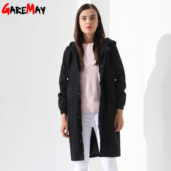 Womens Windbreakers Female Coat Jacket Plus Size Causal Long Cotton Pocket Female Overcoat Autumn Coat Women Extra Image 4