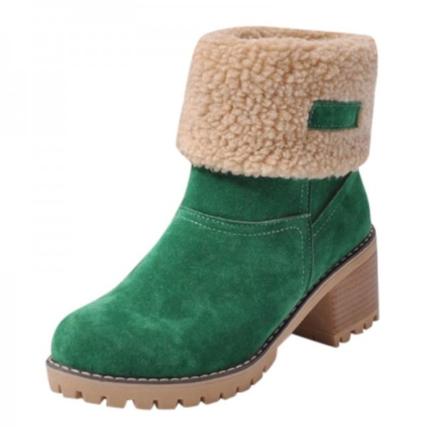 Womens Winter Shoes Brand Women Shoes Mid Calf Boots Flock High Quality Women Winter Warm Boots Plus Big Size Extra Image 2