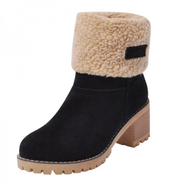 Womens Winter Shoes Brand Women Shoes Mid Calf Boots Flock High Quality Women Winter Warm Boots Plus Big Size Extra Image 3