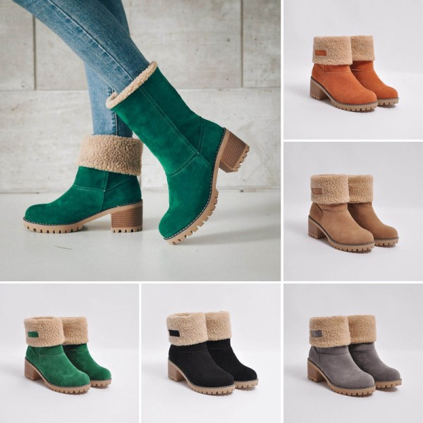 Womens Winter Shoes Brand Women Shoes Mid Calf Boots Flock High Quality Women Winter Warm Boots Plus Big Size Extra Image 5