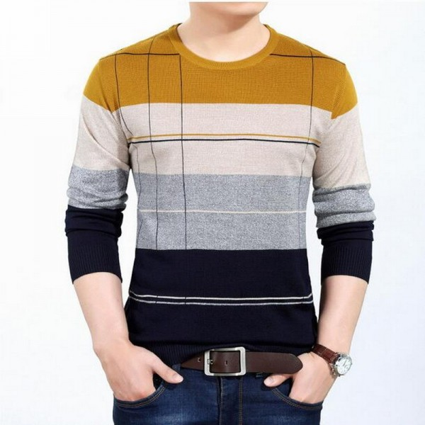 Wool Pullover Mercerized sweater long sleeved Pullovers o neck sweater youth fall striped sweater mens pullover Extra Image 1