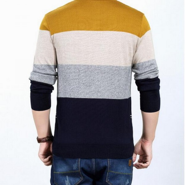 Wool Pullover Mercerized sweater long sleeved Pullovers o neck sweater youth fall striped sweater mens pullover Extra Image 4
