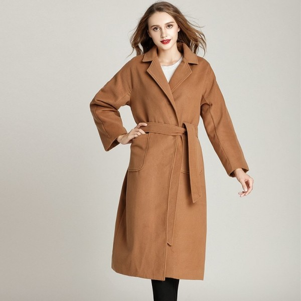 Woolen Winter Coat Extra Long Winter Fashion Turn Collar Cardigan Coat With Belt Plus Size Loose Simple Warm Coat Extra Image 3