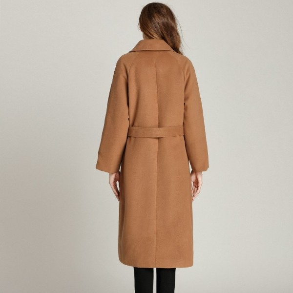 Woolen Winter Coat Extra Long Winter Fashion Turn Collar Cardigan Coat With Belt Plus Size Loose Simple Warm Coat Extra Image 4