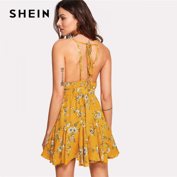 Yellow Cami Dress Drawstring Waist Knot Back Floral Printed Spaghetti Straps Dress Sleeveless High Waist Boho Dress Extra Image 1