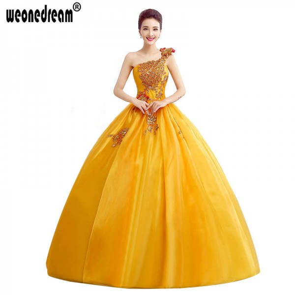 Yellow Lace Sweetheart Organza Ruffles One Shoulder Prom Dress Party Dress Wedding Dress Homecoming For Women Thumbnail