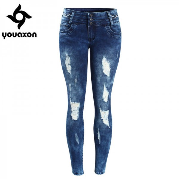 Youaxon Women Embroidery Mid Low Waist Stretchy Ripped Pencil Skinny Denim Pants For Women Thumbnail
