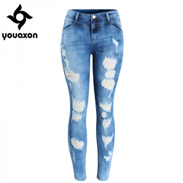 Youaxon Women Plus Size Brand New Fasion Jeans For Women Ripped Stretchy Skinny For Women Thumbnail