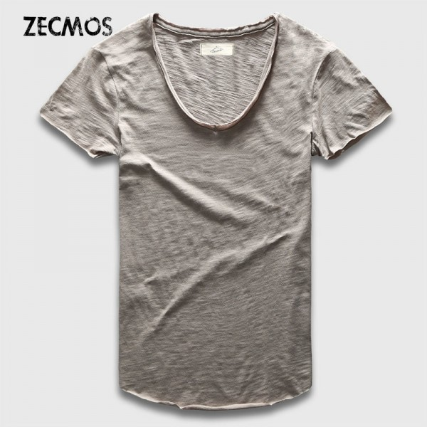 Zecmos Fashion Men Shirt With V Neck T Shirts For Men Male Luxury Cotton Plain Solid Curved Hem Top Tees Short Sleeve