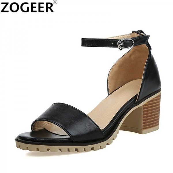 ZOGEER Hot Women Sandals Plus Size Fashion Ankle Strap Shoes Woman Square Heel Summer Medium Heel Ladies Sandals
