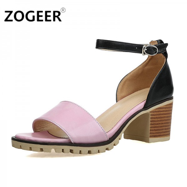 ZOGEER Hot Women Sandals Plus Size Fashion Ankle Strap Shoes Woman Square Heel Summer Medium Heel Ladies Sandals Extra Image 2